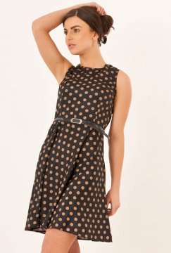 Black and Gold Pretty Woman Dot Dress Dresses Black Polka Dot ...
